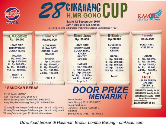 Brosur Lomba Burung Berkicau 28 Cikarang Cup, Bekasi, 12 September 2015