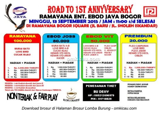 Brosur Lomba Burung Berkicau Road to 1st Anniversary Ramayana Ent, Bogor, 13 September 2015