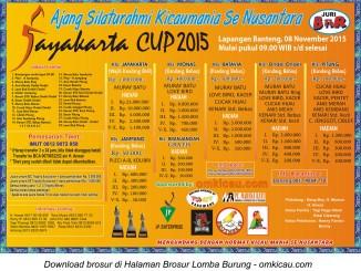 Brosur Lomba Burung Berkicau Jayakarta Cup 2015, Jakarta, Minggu 8 November 2015