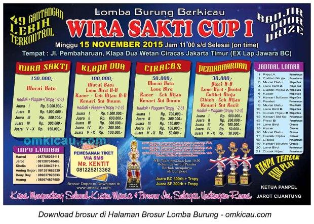 Brosur Lomba Burung Berkicau Wira Sakti Cup I, Jakarta Timur, 15 November 2015