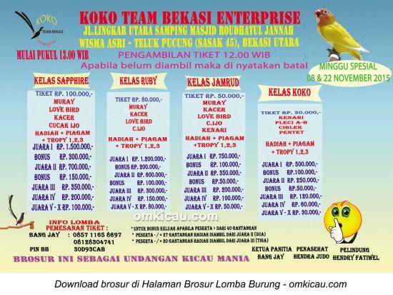 Brosur Latpres Koko Team Bekasi Enterprise, 8 + 22 November 2015