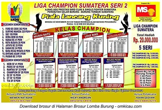 Brosur Liga Champion Sumatera Seri 2 - Piala Lancang Kuning, Pekanbaru, 22 November 2015