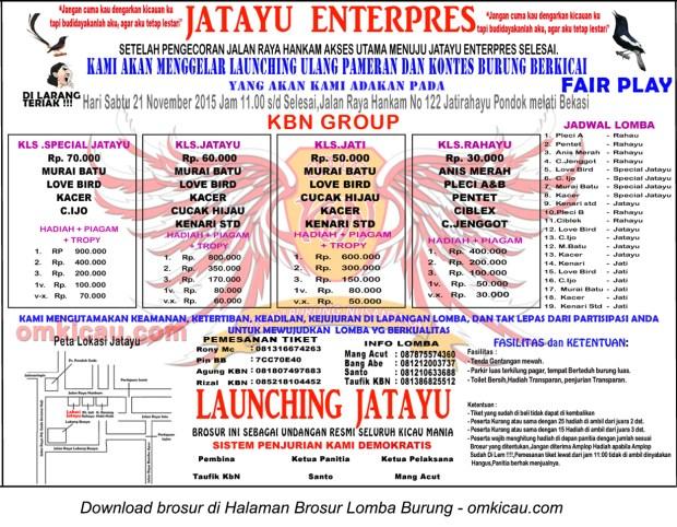 Brosur Lomba Burung Berkicau Launching Ulang Jatayu Enterprise, Bekasi, 21 November 2015