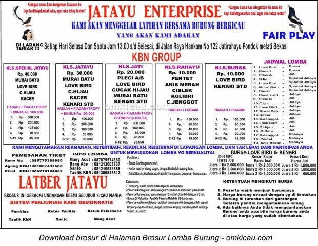Brosur Latber Burung Berkicau Jatayu Enterprise Bekasi, setiap Selasa dan Sabtu jam 13