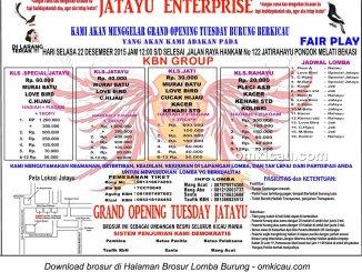 Brosur Lomba Burung Berkicau Grand Opening Tuesday Jatayu Enterprise, Bekasi, 22 Desember 2015