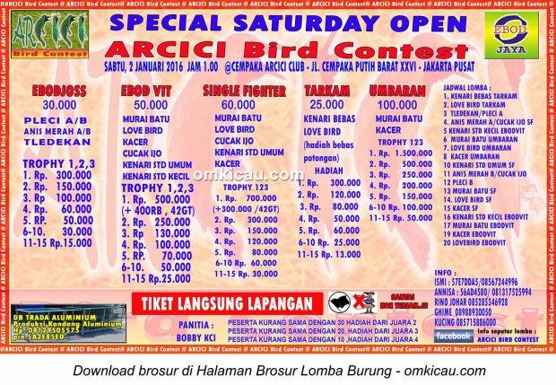 Brosur Lomba Burung Berkicau Special Saturday Open Arcici Bird Contest, Jakarta, 2 Januari 2016