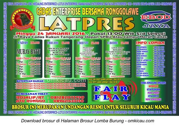 Brosur Latpres Cadas Enterprise Bersama Ronggolawe, Tangerang, 24 Januari 2016