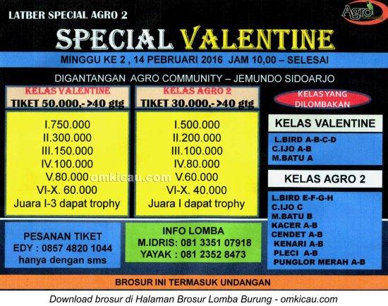 Brosur Latpres Agro 2 Special Valentine, Sidoarjo, 14 Februari 2016