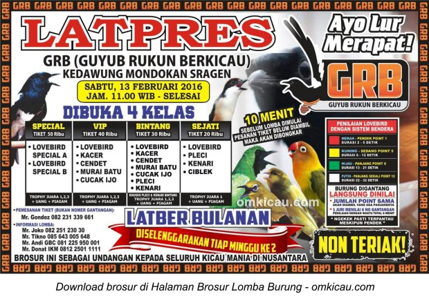 Brosur Latpres Guyub Rukun Berkicau (GRB) Sragen, 13 Februari 2016