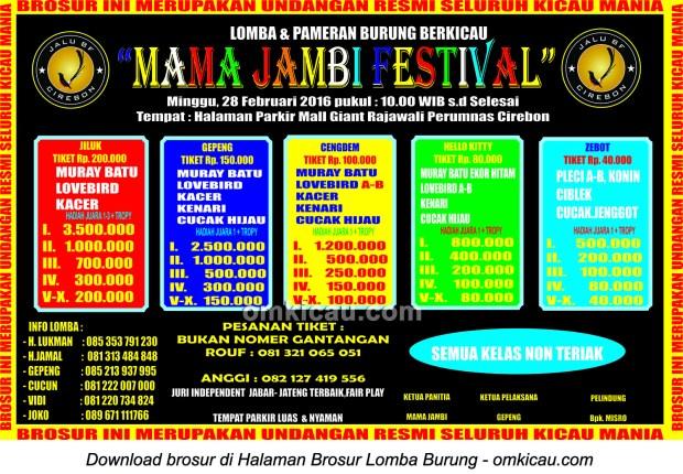 Brosur Lomba Burung Berkicau Mama Jambi Festival, Cirebon, 28 Februari 2016