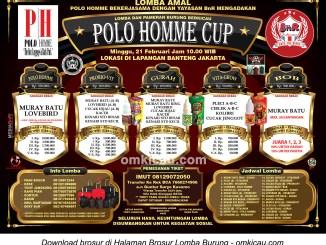 Brosur Lomba Burung Berkicau Polo Homme Cup, Jakarta, Minggu 21 Februari 2016