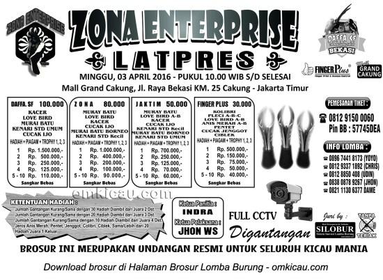 Brosur Latpres Burung Berkicau Zona Enterprise, Jakarta Timur, 3 April 2016