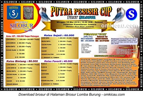 Brosur Lomba Burung Berkicau Putra Pesisir Cup feat Silobur, Juwana, 15 Mei 2016