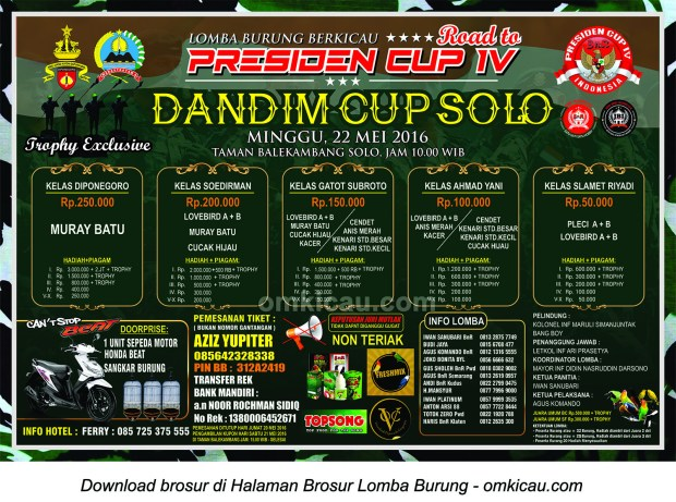 Brosur Revisi Lomba Burung Berkicau Dandim Cup Solo - Road to Presiden Cup IV, Solo, 22 Mei 2016