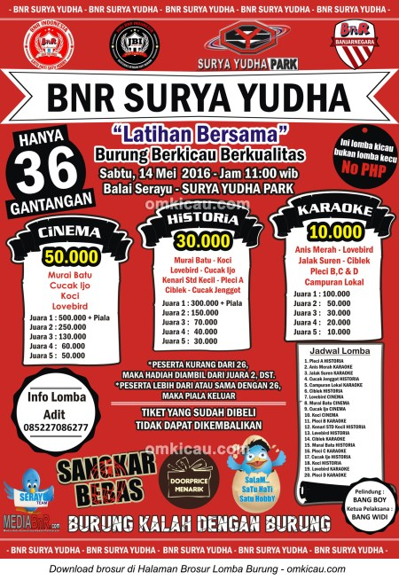 Brosur Latber Burung Berkicau BnR Surya Yudha, Banjarnegara, 14 Mei 2016