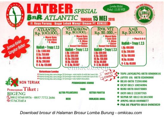 Brosur Latber Spesial BnR Atlantic, Bogor, 15 Mei 2016