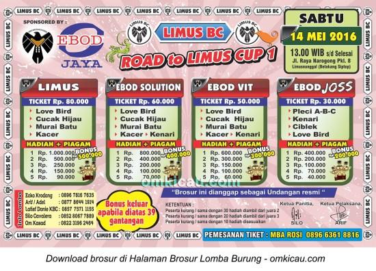 Brosur Latpres Burung Berkicau Road to Limus BC Cup 1, Bogor, 14 Mei 2016