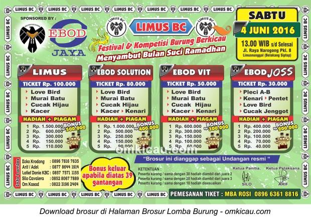 Brosur Latpres Limus BC Menyambut Bulan Suci Ramadhan, Bogor, 4 Juni 2016