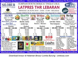 Brosur Latpres Burung Berkicau THR Lebaran Silobur, Depok, 26 Juni 2016