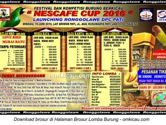 Brosur Lomba Burung Berkicau Nescafe Cup - Launching Ronggolawe DPC Pati, 19 Juni 2016