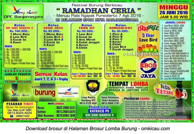 Brosur Lomba Burung Berkicau Ramadhan Ceria, Banjarnegara, 26 Juni 2016