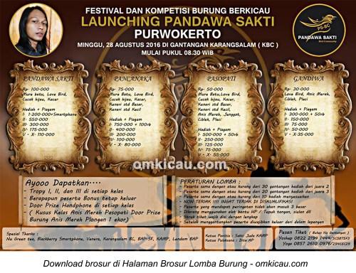 Brosur Lomba Burung Berkicau Launching Pandawa Sakti, Purwokerto, 28 Agustus 2016