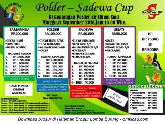 Brosur Lomba Burung Berkicau Polder-Sadewa Cup, Samarinda, 11 September 2016