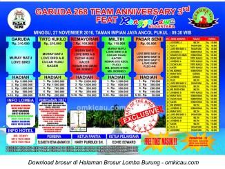 Brosur Lomba Burung Berkicau Garuda 268 Team Anniversary 3rd feat Ronggolawe Nusantara, Jakarta, 27 November 2016