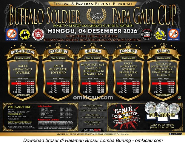 Brosur Lomba Burung Berkicau Buffalo Soldier ft Papa Gaul Cup, Bandar Lampung, 4 Desember 2016