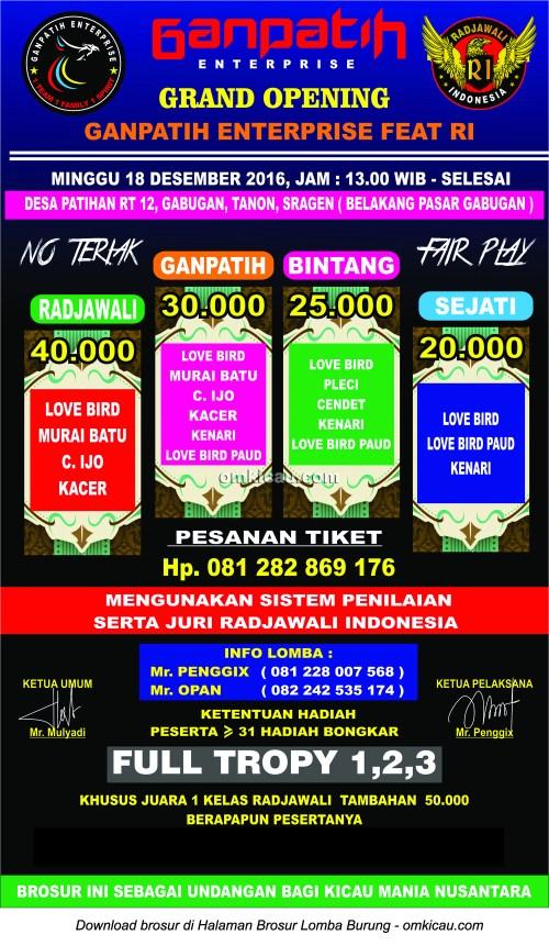 Brosur Grand Opening GanPatih Enterprise feat Radjawali Indonesia, Sragen, 18 Desember 2016