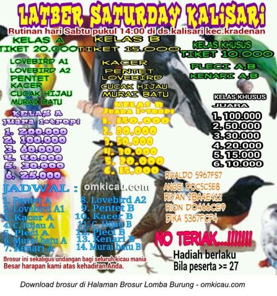 Brosur Latber Saturday Kalisari Grobogan setiap Sabtu