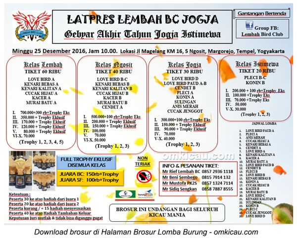 Brosur Latpres Lembah BC - Gebyar Akhir Tahun Jogja Istimewa, 25 Desember 2016