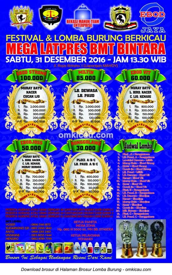 Brosur Mega Latpres BMT Bintara, Bekasi, 31 Desember 2016