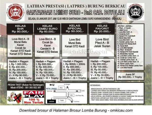 Brosur Latpres Gantangan Lembu Suro - BnR Cabang Boyolali, Selasa 3 Januari 2017