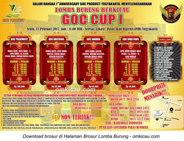 Brosur Lomba Burung Berkicau GOC Cup I, Jogja, 13 Februari 2017