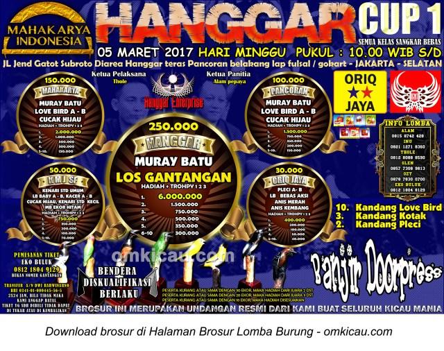 Brosur Lomba Burung Berkicau Hanggar Cup 1, Jakarta Selatan, 5 Maret 2017