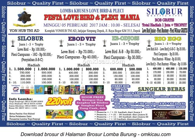 Brosur Pesta Lovebird dan Pleci Mania - Silobur, Depok, 5 Februari 2017