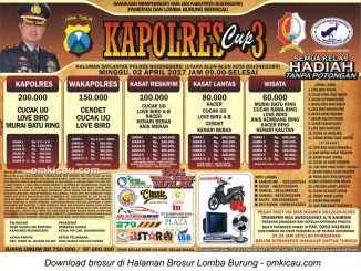 Brosur Lomba Burung Berkicau Kapolres Cup 3, Bojonegoro, 2 April 2017
