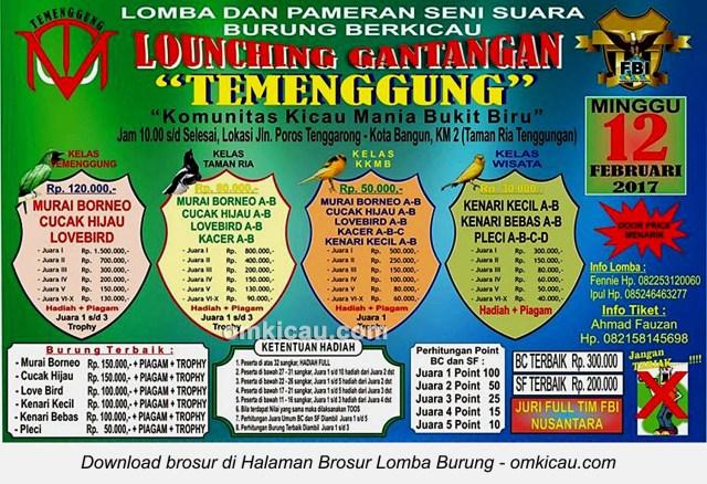 Brosur Lomba Burung Berkicau Launching Gantangan Temenggung, Kota Bangun, 12 Februari 2017