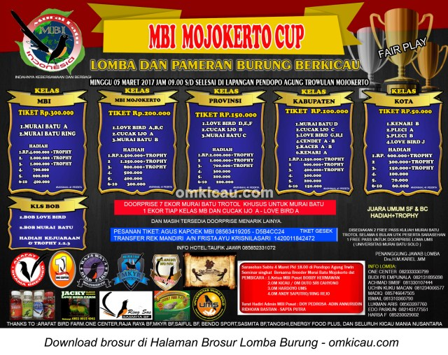 Brosur Lomba Burung Berkicau MBI Mojokerto Cup, Mojokerto, 5 Maret 2017