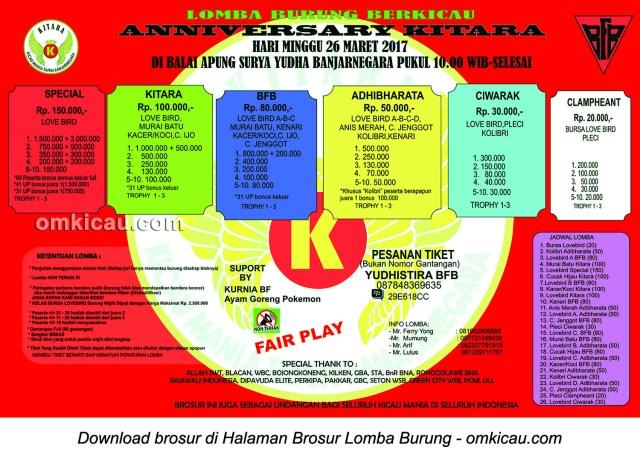 Brosur Lomba Burung Berkicau Anniversary Kitara BFB, Banjarnegara, 26 Maret 2017