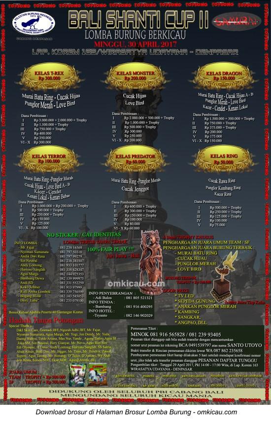 Brosur Lomba Burung Berkicau Bali Shanti Cup II, Denpasar, 30 April 2017