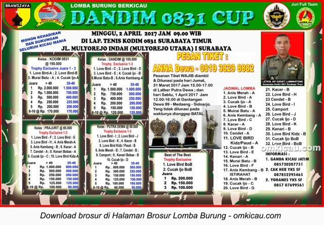 Brosur Lomba Burung Berkicau Dandim 0831 Cup, Surabaya, 2 April 2017