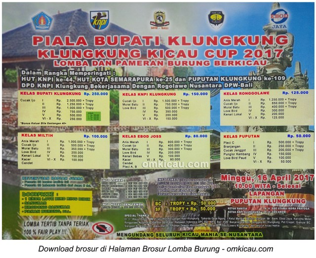 Brosur Lomba Burung Berkicau Piala Bupati Klungkung, 16 April 2017