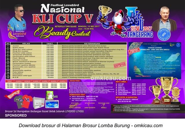 Brosur Lovebird Beauty Contest KLI Cup V, Tangerang, 14 Mei 2017