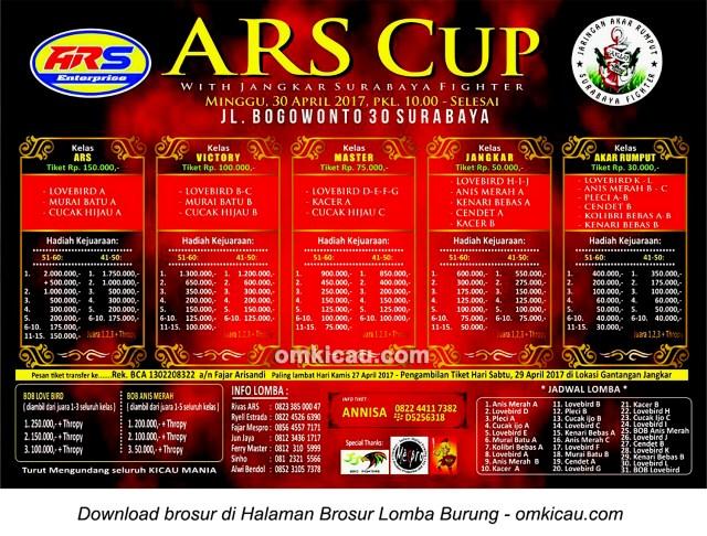 Brosur Terbaru Lomba Burung Berkicau ARS Cup, Surabaya, 30 April 2017