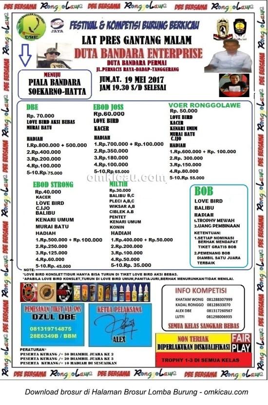 Brosur Latpres Gantang Malam Duta Bandara Enterprise, Tangerang, 19 Mei 2017