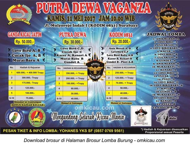 Brosur Lomba Burung Berkicau Putra Dewa Vaganza, Surabaya, 11 Mei 2017