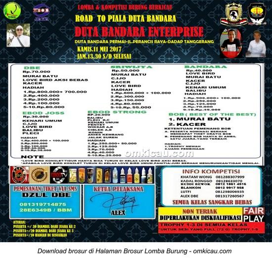 Brosur Lomba Burung Berkicau Road to Piala Duta Bandara, Tangerang, 11 Mei 2017