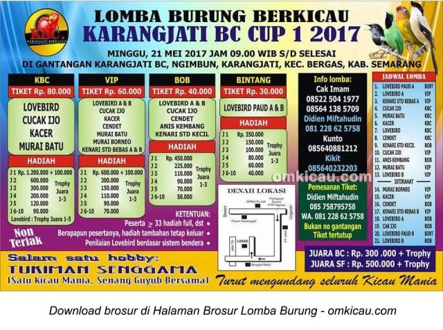 Brosur Revisi Lomba Burung Berkicau Karangjati BC Cup 1, Semarang, 21 Mei 2017
